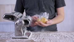 Preparing home made pasta with pasta maker. Stock Footage