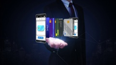 Businessman open palm,  Select credit card in mobile, concept of mobile payment, Stock Footage