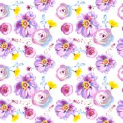 Wildflower rose flower pattern in a watercolor style isolated Stock Illustration