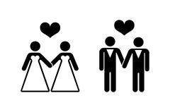 Gay wedding icons over white Stock Illustration