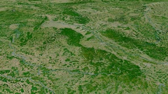Revolution around Vosges mountain range - masks. Satellite imagery Stock Footage
