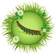 Caterpillar in a clearing Stock Illustration