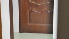 Room design interior with closed door Stock Footage