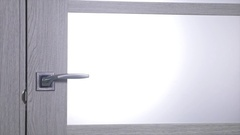 Male Hand opening the brown door Stock Footage