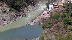 Devprayag village and Ganges river water. Uttarakhand, India. Stock Footage