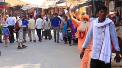 Indian people visit the holy city. Pushkar, India Stock Footage
