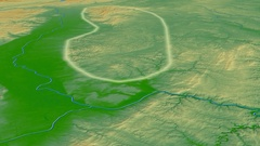 Glide over Vosges mountain range - glowed. Colored physical map Stock Footage