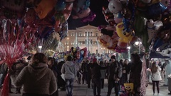 4K Christmas night 2016 on Syntagma square,Athens Greece Stock Footage