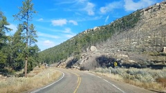 Driving on highway route 89A, away from North rim, Grand canyon, in Arizona.. Stock Footage