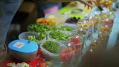 Boxes with vegetables and fruits are on market table Stock Footage