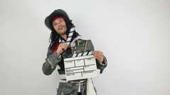 Pirate with a movie clapper Stock Footage