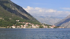 Nice mountain and sea water view. Kotor, Montenegro. Boka Kotorska Bay. Stock Footage