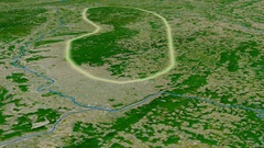 Glide over Vosges mountain range - glowed. Satellite imagery Stock Footage