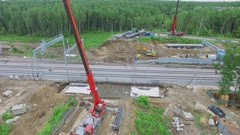 Construction site of Bogorodskiy bridge over railroad beltway on Elk Island Stock Footage
