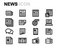 Vector line news icons set Stock Illustration
