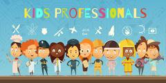 Kids in Costumes Of Professionals Cartoon Composition Stock Illustration