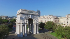 Victory Arch on Victory Square at summer sunny day. Aerial view Stock Footage