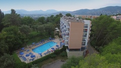 Pool with people on territory of 3 stars inter-hotel Stock Footage