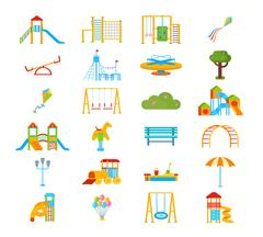 Playground Flat Elements Set Stock Illustration