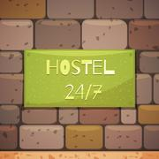Hostel Signboard With Address On Brick Wall Stock Illustration