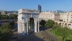 Victory Arch on Victory Square near street with traffic at summer Stock Footage