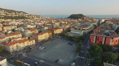 City panorama with traffic on square near NH Nice hotel and Novotel center Stock Footage