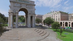 Victory Arch on Victory Square at summer sunny day Stock Footage