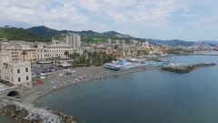 Sea shore with Mario Peragallo gardens, yacht club Pegli and traffic Stock Footage