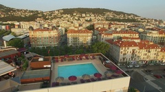 Cityscape with pools on roofs of NH Nice hotel and Novotel center Stock Footage