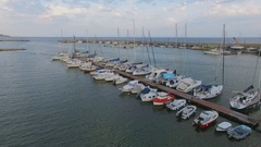 Yacht club with many boats on moorage in Vecchio port at summer Stock Footage