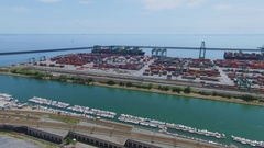 Railway and Tourist landing Marina Castelluccio near port Voltri Terminal Europa Stock Footage