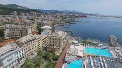 Cityscape with Pegli seafront, Mediterranee Bathrooms and Mario Peragallo Stock Footage