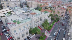 City panorama with Casino San-Remo on Empress street and seafront Stock Footage