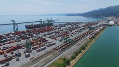 Voltri Terminal Europa port and Castelluccio Tourist landing Marina near railway Stock Footage