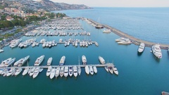 Many vessels on moorage in Sole port near coastal city at summer Stock Footage