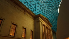 Gimbal shot showing interior details of the British Museum in London, England, Stock Footage