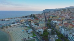 Cityscape with beaches Morgana and Renella, many vessels in Vecchio port Stock Footage
