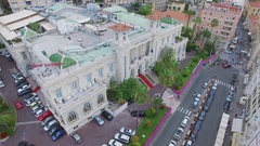 Edifice of Casino San Remo on Empress street at summer day. Aerial view Stock Footage