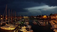 Many boats are on moorage in Vecchio port at evening Stock Footage
