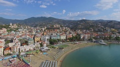 Cityscape with many parasols on Morgana and Renella beaches Stock Footage
