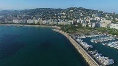 City panorama with many vessel in Canto port and beach side boulevard Stock Footage