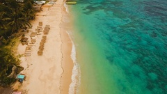 Aerial view beautiful tropical island and sand beach. Boracay island Philippines Stock Footage
