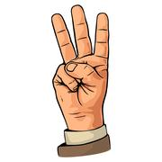 Pointing finger. Number one hand sign. Stock Illustration