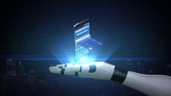Robot cyborg arm, credit card insert a smartphone, online payments.mobile. Stock Footage