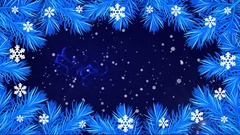 Footage Happy New Year with pine branches and snowflakes on the blue background Stock Footage