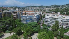 Townscape with Le Cannet district summer sunny day. Stock Footage