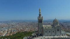 City panorama with edifice of Notre Dame de la Garde and Vieux port Stock Footage