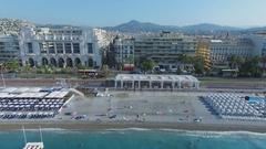 Cityscape with hotel Hyatt Regency Nice Palais de la Mediterranee Stock Footage