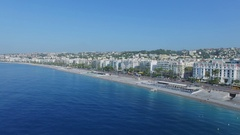 Townscape with sea beach near English Promenade at summer Stock Footage