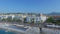 Cityscape with hotel Negresco on English Promenade near sea beach Stock Footage